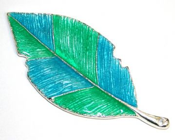 1pce x 80mm*35mm Blue / green enameled alloy  leaf pendants